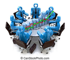 3d business people in a meeting at a round table and financial chart - diagram
