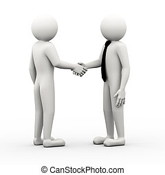 3d business people shaking hands illustration