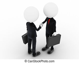 3d business people shaking hands over a deal