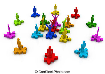 3d  business people standing on the pieces of a puzzle