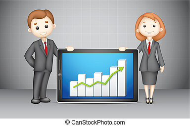 3d Business People with Company Bar Graph - illustration of...