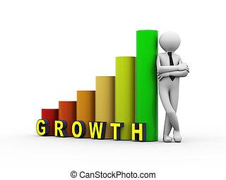 3d business person growth progress bars