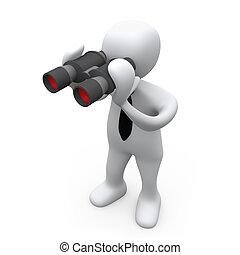 3D Business Person Looking Through Binoculars .