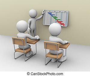 3d business person presenting gantt chart progress