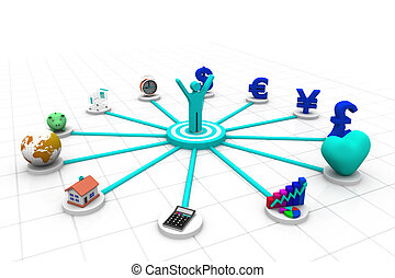 3d business person with business icons