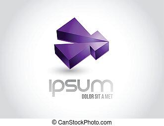 3d business shape logo symbol illustration design