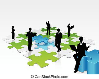 A 3D illustration of a team of professional solving a jigsaw puzzle, a metaphor of a team taking care of businesses problems