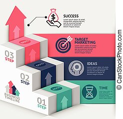 3d business staircase diagram template. Vector illustration....