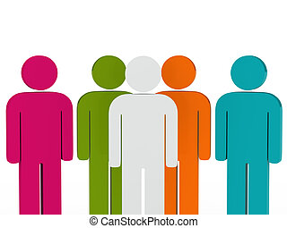 3d business team people colorful with leader