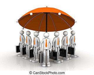 3d business team standing under a big umbrella
