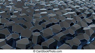 3d business template on black backdrop. Abstract blue illustration. Digital geometric abstract background. 3d render illustration. Modern wallpaper.