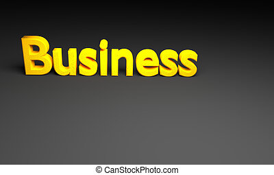 3D business text on black background.