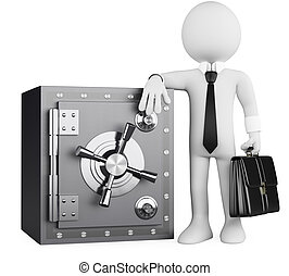 3D business white people. Banker and safe