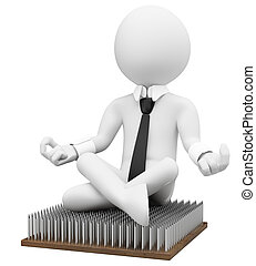 3D business white people. Business metaphor fakir - 3d white...