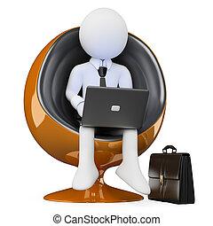 3D business white people. Future businessman