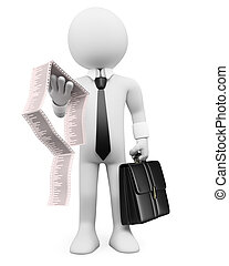 3d white business person with a briefcase and invoices. 3d image. Isolated white background.