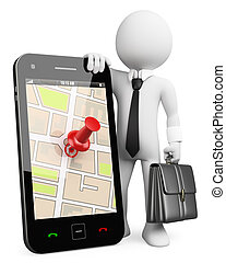 3D business white people. Mobile phone with GPS