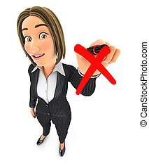 3d business woman drawing red cross check mark