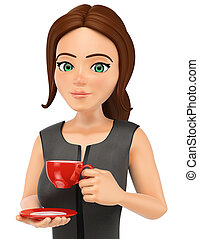 3D Business woman drinking a hot cup of coffe