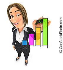 3d business woman hand drawn graph