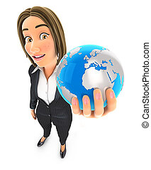 3d business woman holding blue earth