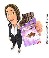 3d business woman holding chocolate bar