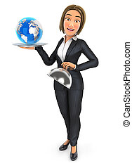 3d business woman holding restaurant cloche with earth