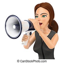 3D Business woman talking on a megaphone