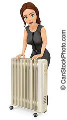 3D Business woman warming herself with an portable radiator