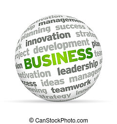 3d Business Word Sphere on white background.
