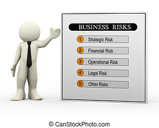 3d businessman and business risks - 3d illustration of man...