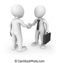 3d businessman and client shaking hands.