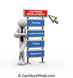 3d businessman and concept of software development