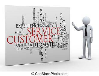 3d businessman and customer service wordcloud