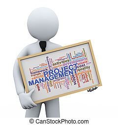 3d Illustration of man holding project management wordcloud word tags board. 3d rendering of human people character.
