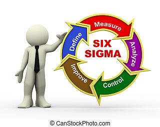 3d businessman and six sigma flowchart - 3d illustration of...