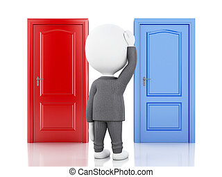3d businessman and two doors, doubtful. Choice concept - 3d ...