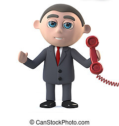 3d Businessman answers the phone