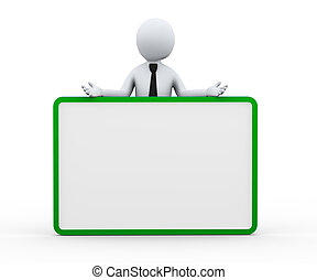 3d businessman blank empty board banner - 3d illustration of...