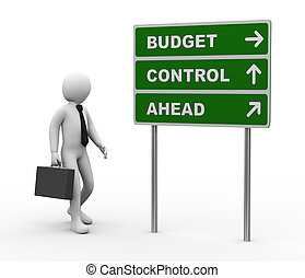 3d businessman budget control ahead roadsign