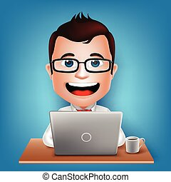 3D Businessman Cartoon Character - 3D Realistic Busy...