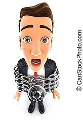 3d businessman chained