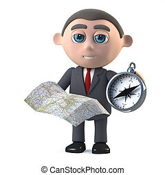 3d Businessman checks the map and compass