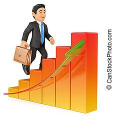 3D Businessman climbing a bar graph