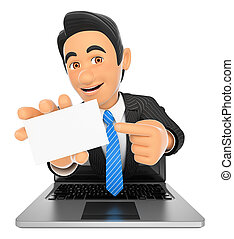 3D Businessman coming out a laptop screen with a blank card