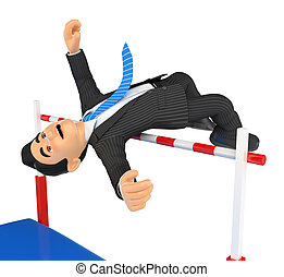 3D Businessman competing in high jump. Overcoming