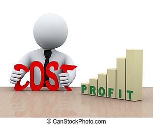 3d businessman cost reduction concept - 3d illustration of...