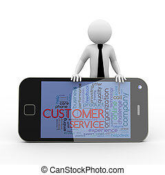 3d businessman customer service wordcloud mobile