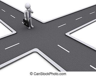 3d Businessman deciding the right way - 3d businessman...