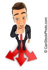 3d businessman difficult choice - 3d businessman faced with...